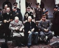 Winston Churchill, Franklin Roosevelt and Joseph Stalin at Yalta in 1945