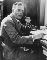 Edwin Powell Hubble smoking his pipe