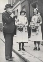 Winston Churchill with nurses on a JWO flag day